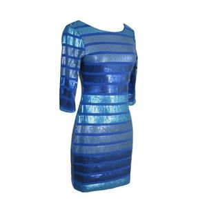Blue Cocktail Short Dress Sequin 3/4 Sleeve Sequin